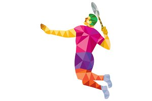 Badminton Player Jump Smash Low Poly