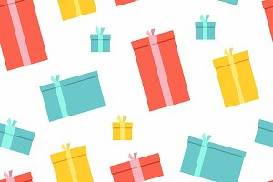 Seamless Patterns Of Gift Boxes