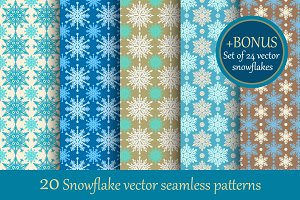 20 Snowflake Seamless Patterns.