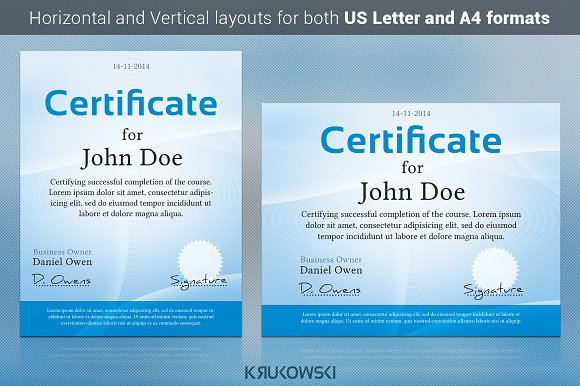 Simple Certificate Template Stationery Templates Creative Market