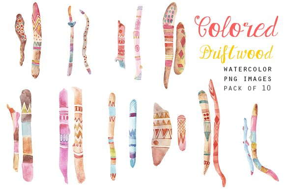 Watercolor Tribal Elements Clipart
