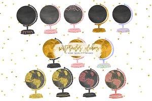 Watercolor Globes, Globe Clip Art, C