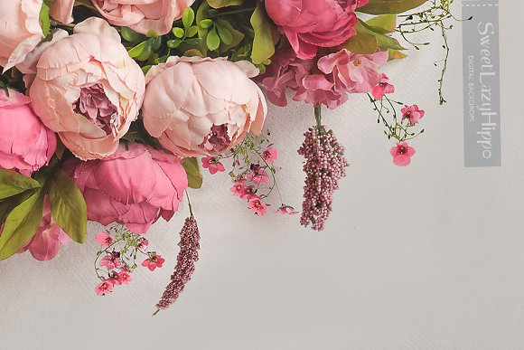 Floral Newborn Digital Backdrop