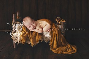 Vintage Wooden Bed. Newborn Backdrop