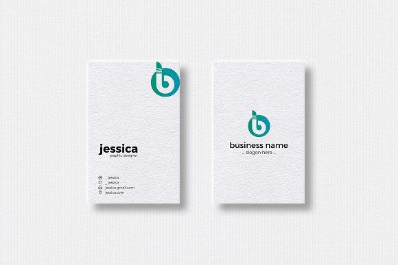 B Letter Logo Vertical Business Ca