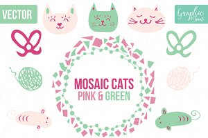 Mosaic Cats & Mice - Pink & Green