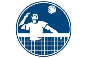 Volleyball Player Spiking Ball Circl