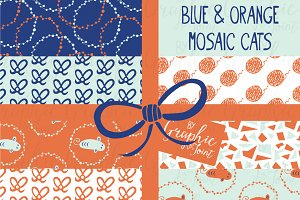 Mosaic Cat Patterns - Orange & Blue