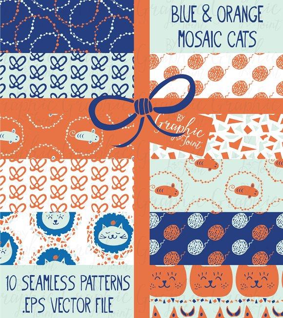 Mosaic Cat Patterns - Orange & Blue