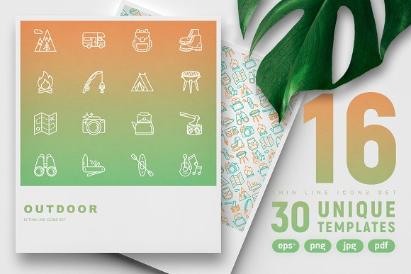 Outdoor Icons Set 30 Templates
