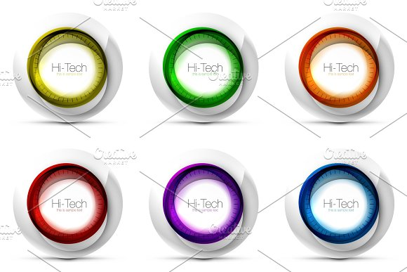 Set Of Digital Techno Spheres Web Banners Buttons Or Icons With Text Glossy Swirl Color Abstract Circle Design Hi-tech Futuristic Symbols With Color Rings And Grey Metallic Element