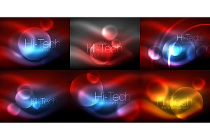 Set of blurred neon glowing circles, hi-tech modern bubble templates, techno glowing glass round shapes or spheres. Geometric abstract backgrounds