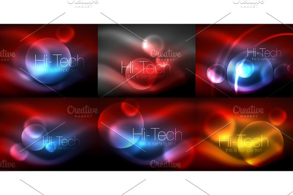 Set Of Blurred Neon Glowing Circles Hi-tech Modern Bubble Templates Techno Glowing Glass Round Shapes Or Spheres Geometric Abstract Backgrounds