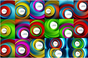 Swirling spiral background set, colorful stripes