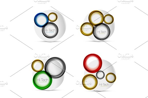Set Of Circle Web Layouts Digital Techno Round Shapes Web Banners Buttons Or Icons With Text Glossy Swirl Color Abstract Circle Designs Hi-tech Futuristic Symbol Rings