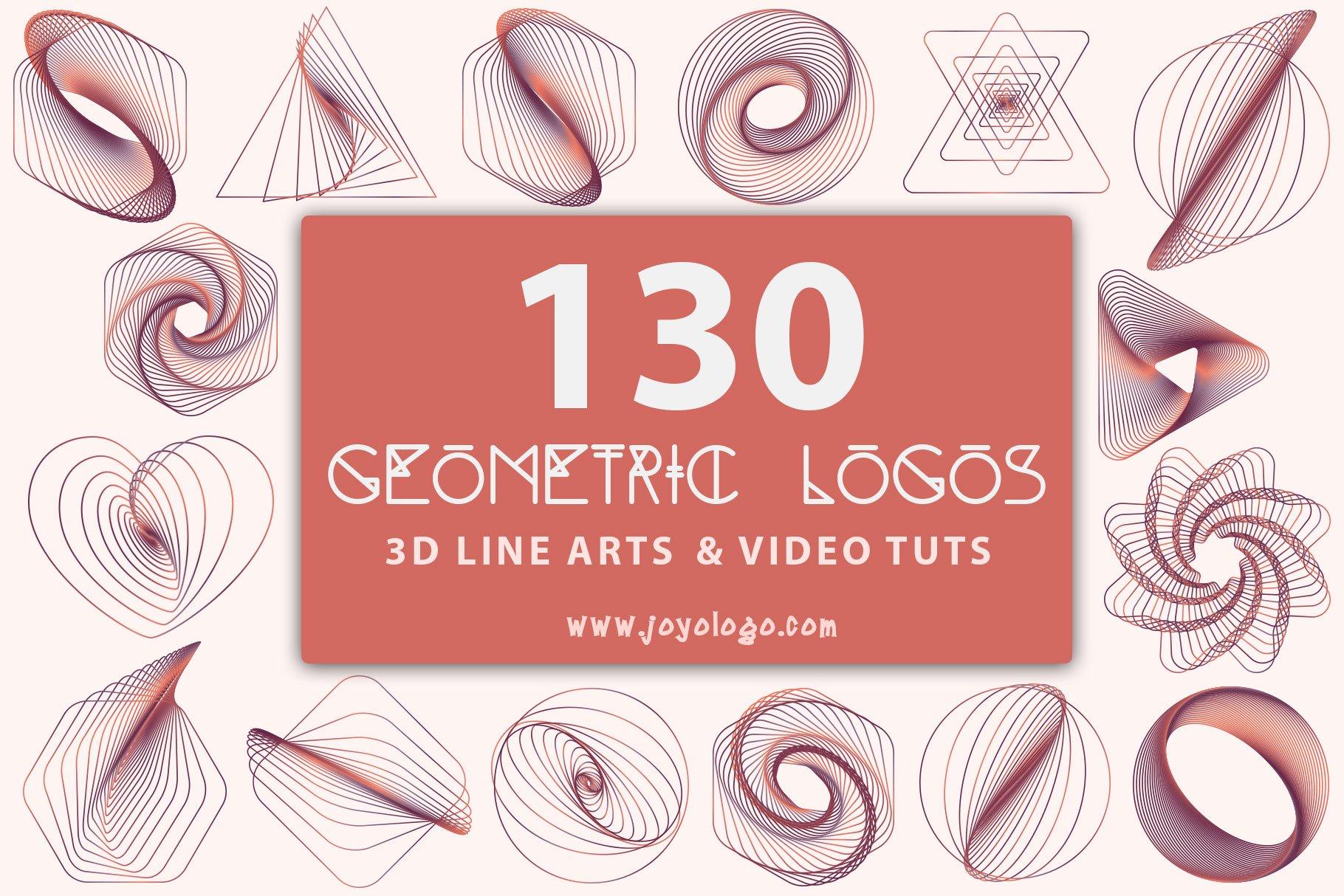 Geometric logo generator 3d line art logo templates creative market ccuart Image collections