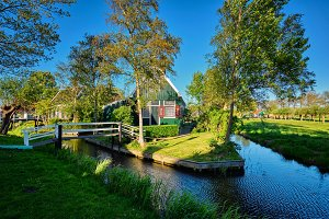 Farm houses in the museum village of Zaanse Schans, Netherlands