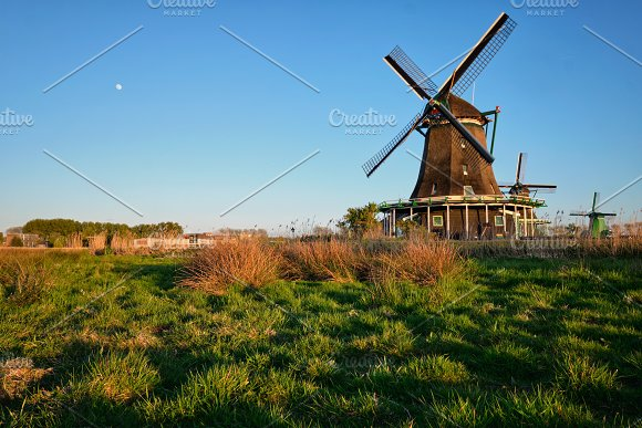 Windmills At Zaanse Schans In Holland On Sunset Zaandam Nether