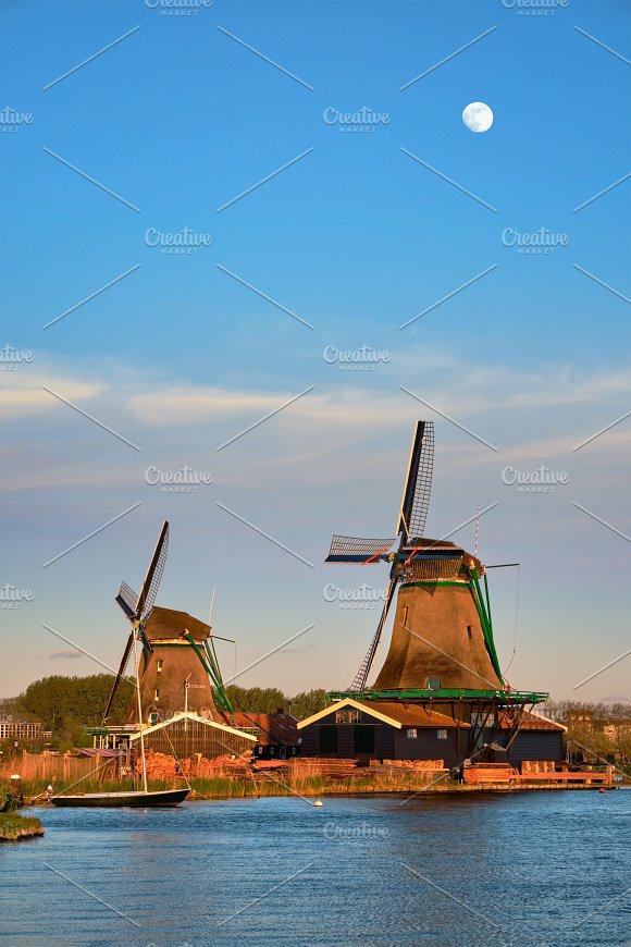 Windmills At Zaanse Schans In Holland In Twilight On Sunset Zaa