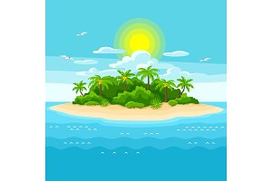 Illustration of tropical island in ocean. Landscape with ocean and palm trees. Travel background