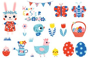 Cute Happy Easter clipart set