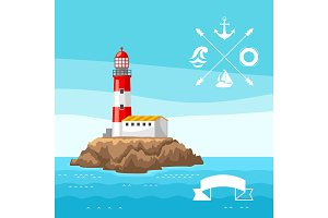 Illustration of lighthouse on rocky coast. Landscape with ocean and rocks. Travel background
