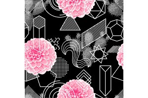 Seamless pattern with abstract geometric shapes, flower and cactus. Line art background
