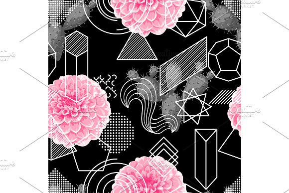 Seamless Pattern With Abstract Geometric Shapes Flower And Cactus Line Art Background