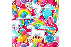 Seamless pattern with unicorns and fantasy items