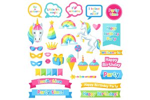 Happy birthday scrapbook patch. Fantasy items and objects for decorations