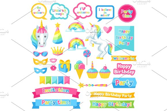 Happy Birthday Scrapbook Patch Fantasy Items And Objects For Decorations