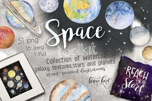 Space Toolkit  Watercolor Planets