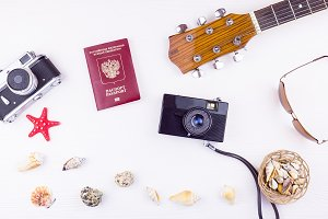 seashells with a guitar and a camera