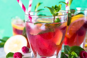 Raspberry lemonade.  Iced summer drink.