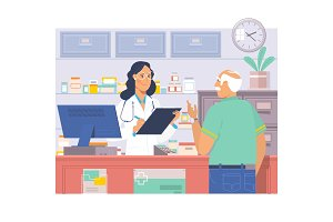 Pharmacist at counter in pharmacy.Man buys drugs at the pharmacy.Health care medical background. Drugstore vector illustration