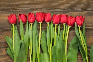 Row of tulips on wooden background with space for message. Mother's Day background.