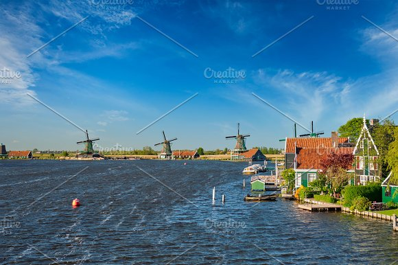 Windmills At Zaanse Schans In Holland Zaandam Netherlands