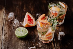 Glasses of grapefruit drink