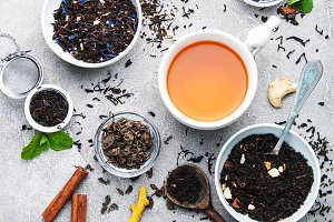 Cup of tea with aromatic dry tea
