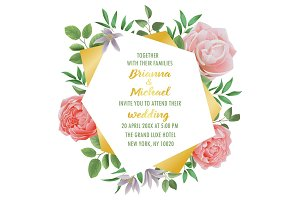 Wedding invitation with Flowers and Greenery