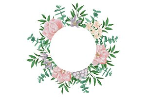 Template with Round Frame and Pink Flowers