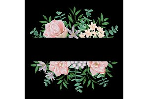 Template with Pink Flowers