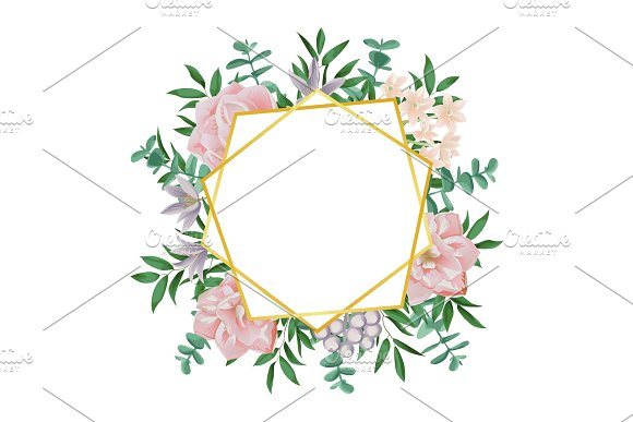 Template With Gold Geometric Frame And Pink Flowers