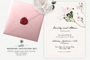 White Wedding Invitation Set