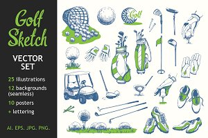 Golf Sketch Illustrations