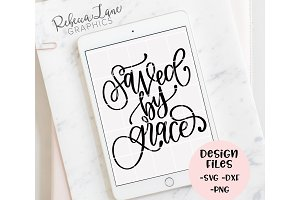 saved by grace calligraphy design