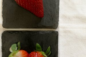 Strawberries on blackboard