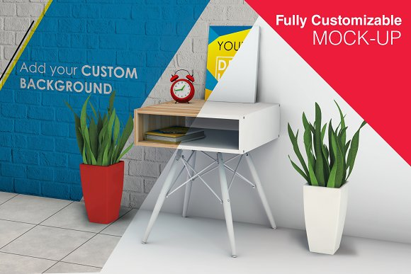 Stationary Desk And Poster Mock-up