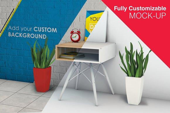 Stationary Desk And Poster Mock-up