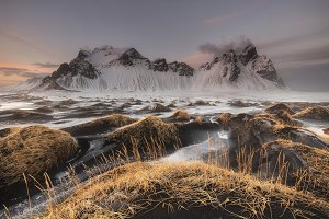 Black sand and Vestrahorn mountains
